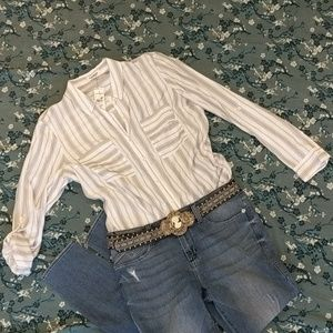 Express The City Shirt LS Button Up Top Size Large
